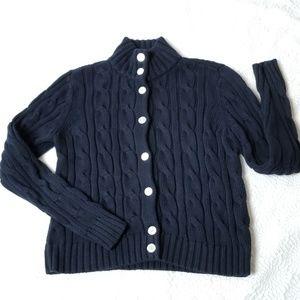 Chaps Navy Blue Cotton Cardigan